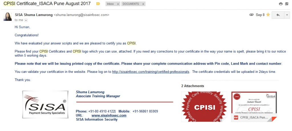 CPISI Exam Completion email received along with Logo and PDF of certificate from Associate Training Manager