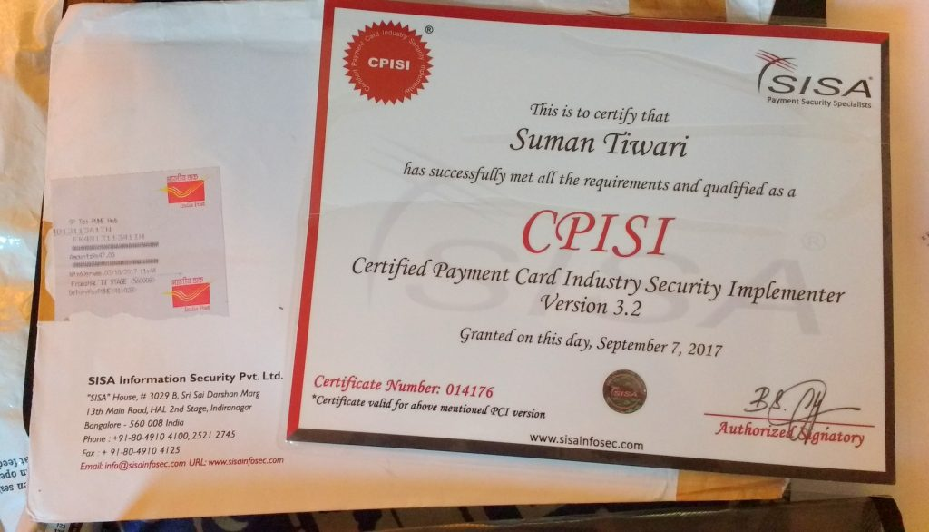 CPISI Hard copy of certification with hologram