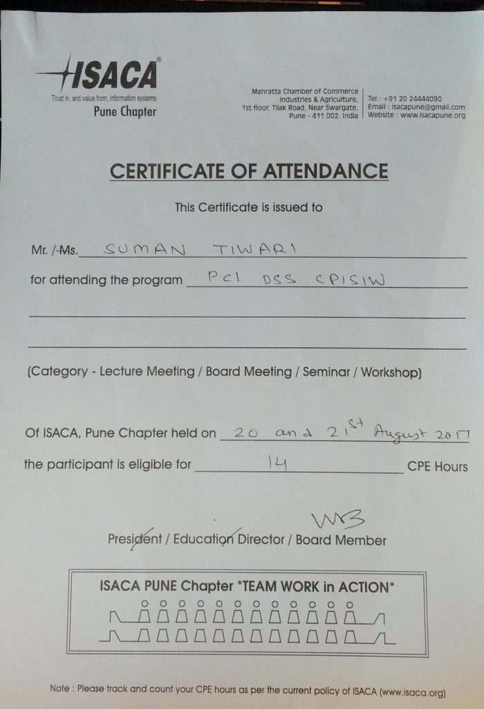 CPISI workshop certificate of attendance 14 CPE points for CISSP CISA CEH OSCP