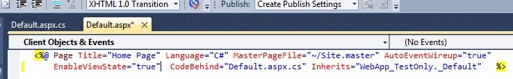 Enable view state in page directive