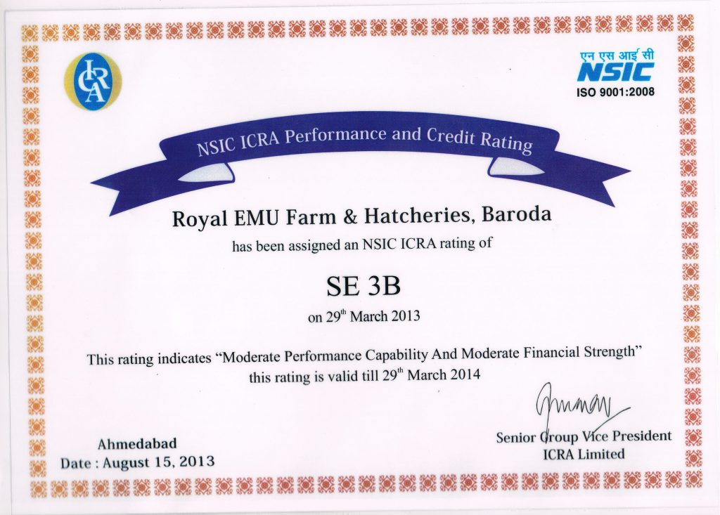Royal EMU farm and Hatcheries Baroda has been assigned an NSIC ICRA rating of SE 3B_EMU